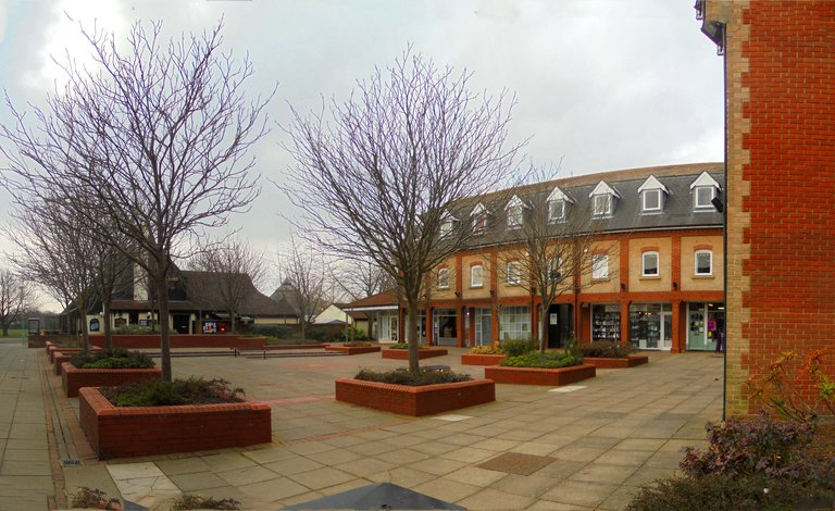 The Square, Martlesham Heath, looking towards the front of the DAS building